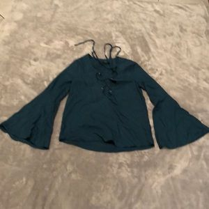NWOT Dark green long sleeve blouse Size S